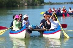 Canoe stabilizzate sull'Ombrone